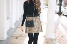 04 a black turtleneck, a gold glitter mini skirt, black tights, blakc heels and a black bag