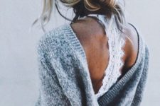 04 a warm sweater and a lace bralette is still in trend and you may go for such a bold combo anytime