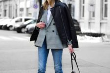 04 a white tee, a grey plaid blazer, a black leather jacket, white boots and a black saddle bag