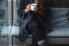 04 black tights, a sweater dress, a coat, combat boots and a beanie for a relaxed outdoorsy look