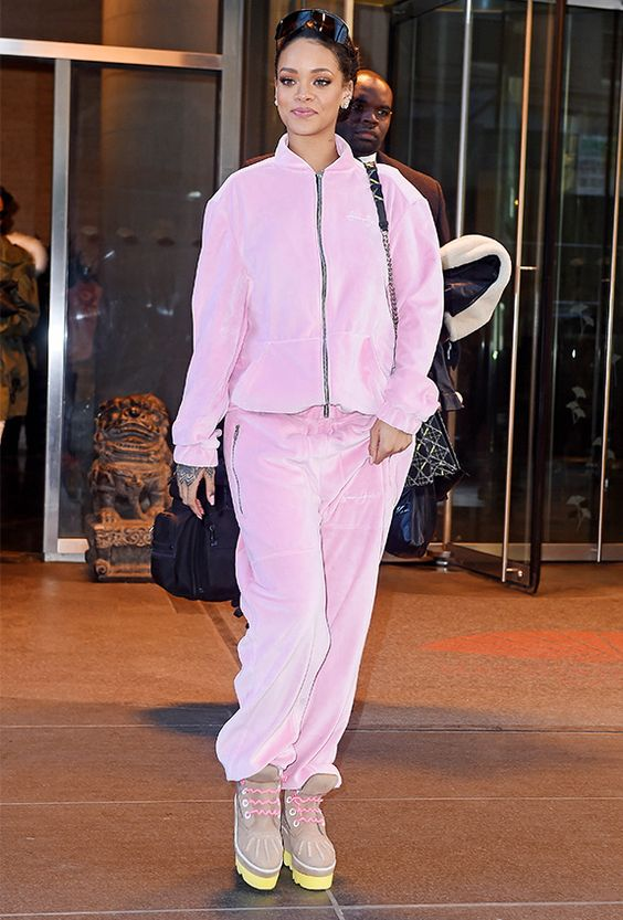 if your tracksuit is warm enough, you may skip outer garments and add only crazy platform boots like Rihanna