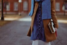 05 a preppy vintage-inspired winter look with a blue dress and scarf, white tights, camel shoes and a coat