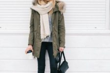 05 black skinnies, a grey sweater, a neutral scarf, black boots and an olive green parka with faux fur