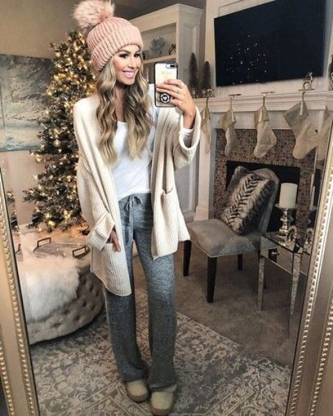 grey joggers, a white tee, a creamy cardigan, shoes and a blush beanie for a super cozy look