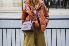 05 mustard culottes, a rust puffed coat and a purple bag for a bright and cheerful winter look