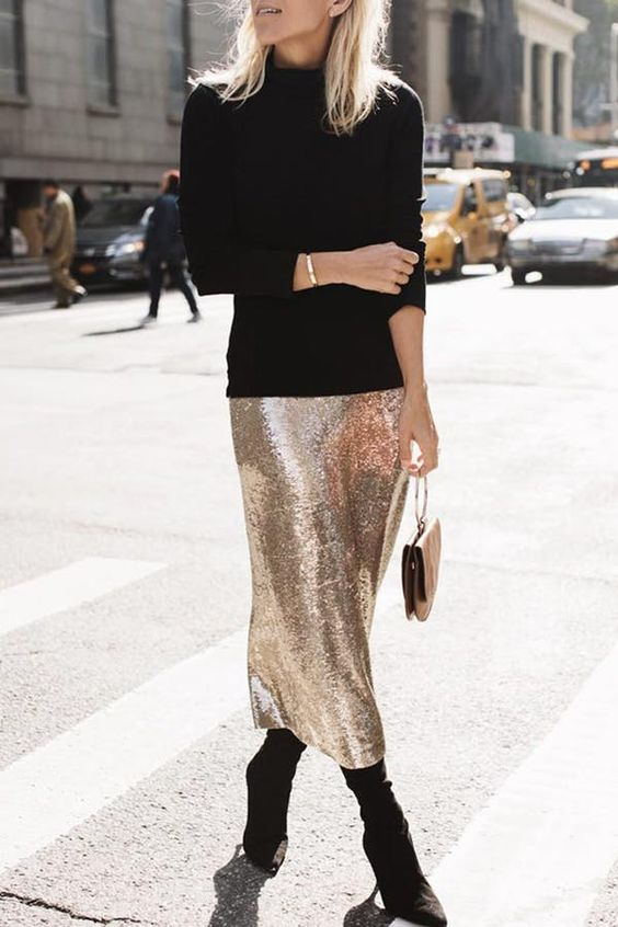 a black turtleneck, a silver sequin midi pencil skirt, black booots and a small bag for a minimalist look