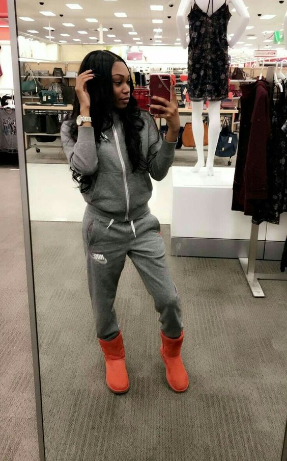 a grey tracksuit and coral ugg boots for shopping and doing weekend stuff anytime