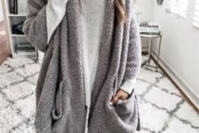 06 grey leggings, a grey long sleeve and a fuzzy cardigan will keep you cozy and chic