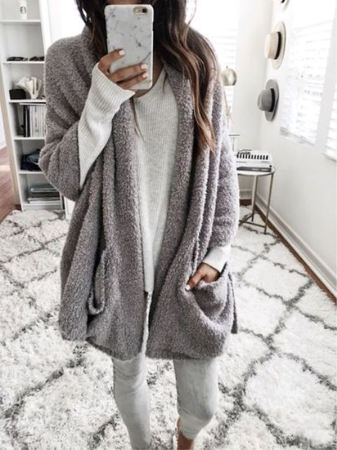 grey leggings, a grey long sleeve and a fuzzy cardigan will keep you cozy and chic