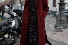 07 a moody floral dress, black tights, black boots, a burgundy midi coat for a rich-colored look