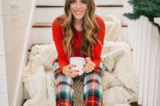 07 a red sweater, plaid pants, moccasins and a white chunky knit blanket for maximal comfort