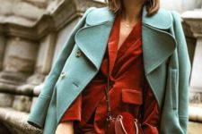 07 a rust velvet pantsuit, a mint-colored coat and a rust leather and suede crossbody