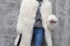 07 faux llama fur was on top but now it's not, take off such a coat and put it into the dresser