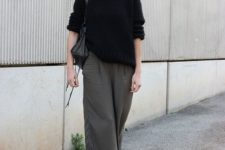 07 grey culottes, a black cashmere sweater, grey tights, black booties and a black bag