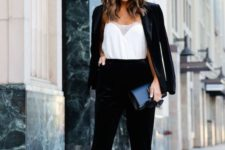 08 a black velvet pantsuit, a white lacey top and black heels are great to comprise a chic holiday outfit