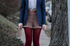 08 a blue shirt, brown shorts, a navy blazer, burgundy tights and suede brown shoes