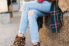 fall look with a plaid scarf