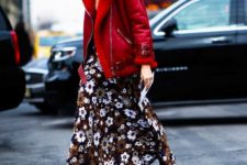 08 a moody floral maxi dress, black combat boots and a red shearling coat for a winter statement