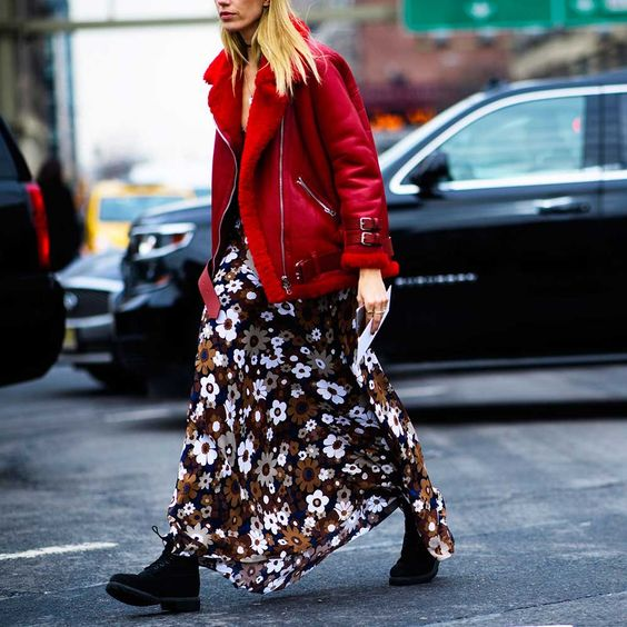 a moody floral maxi dress, black combat boots and a red shearling coat for a winter statement