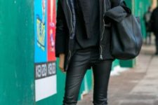 08 a total black look with a sweater, a scarf, leather pants, a parka and combat boots