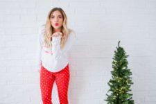 08 a white printed sweatshirt, red polka dot pants, white socks for a Christmas pjs party