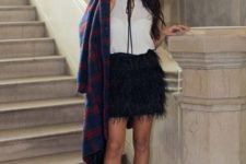 08 a white top with a bow, a black feather skirt, red lace up shoes and a plaid coat for holidays