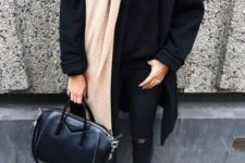 09 a black sweater, coat, ripped skinnies, a neutral scarf and leopard print boots