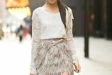 09 a grey lace top, a grey feather mini, a beige belt and a beige bag for a more neutral look