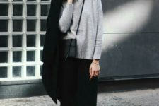 09 a grey sweater, black culottes, black booties, a black coat and a bag for a minimalist look