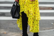 09 a neon yellow ruffled floral high low dress, a plaid short coat, black boots and a black bag