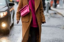 09 black cropped jeans, white sneakers, a hot pink hoodie, a pink bag and a camel coat