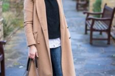 10 a comfy layered look with a shirt, a sweater, blue ripped jeans, a camel coat and leopard print boots