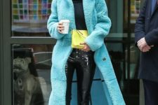 10 a long colorful faux fur coat is a great idea, add trendy white boots, too
