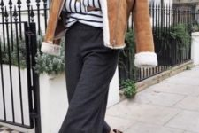 10 a striped top, grey culottes, animal print shoes and an amber shearling coat