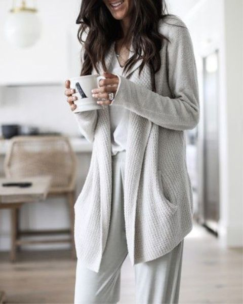 neutral home pants, a top and a matching warm cardigan for a cozy winter home look