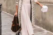 11 a blush midi dress, a faux fur scarf, snake print boots and a matching trench plus a plush bag