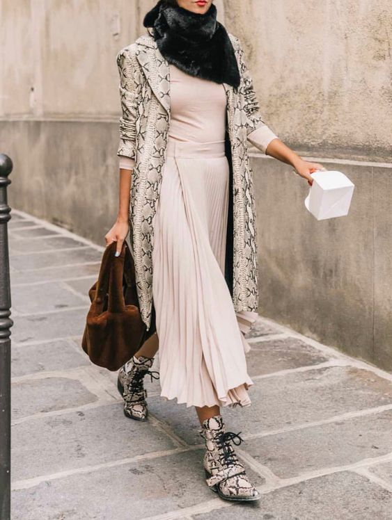 a blush midi dress, a faux fur scarf, snake print boots and a matching trench plus a plush bag