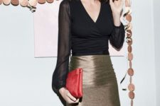 11 a metallic knee pencil skirt, a black blouse with sheer sleeves and a red clutch for a laconic yet festive look