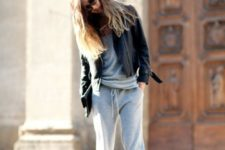 12 a grey cashmere tracksuit, a black leather jacket, black booties are all you need for an effortless look