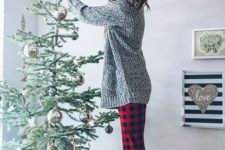 12 a grey sweater, plaid leggings, colorful printed socks for a funny and whimsy outfit