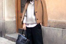 12 a white shirt, a grey V-neck sweater, black culottes, black shoes, a camel short coat and a black bag