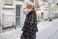 12 an oversized neutral sweater, a floral layered midi skirt, cognac boots and a neutrla bag