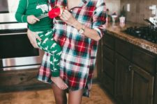 13 a plaid oversized shirt worn as a dress and printed green socks for a fun and simple Christmas look