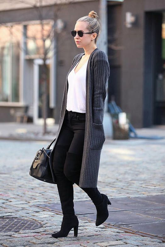 black pants, a white tee, tall black boots and a long grey cardigan for stylish winter monochrome