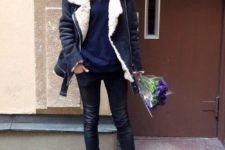 13 navy skinnies, black booties, a midnight blue sweater, a black shearling coat