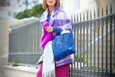 14 a purple top, a pink midi skirt, navy tall boots, a colorful plaid coat and a hot pink beanie