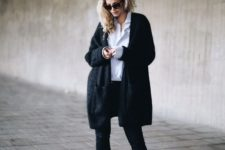 14 black skinnies, boots, a white shirt and a comfy black cardigan for a great winter look