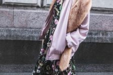 14 blue denim, an airy moody floral midi dress, white sneakers, a pink bomber jacket and faux fur on top