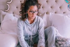 14 grey pants and a hoodie are enough to make up a cool and cozy at home look for a cold season