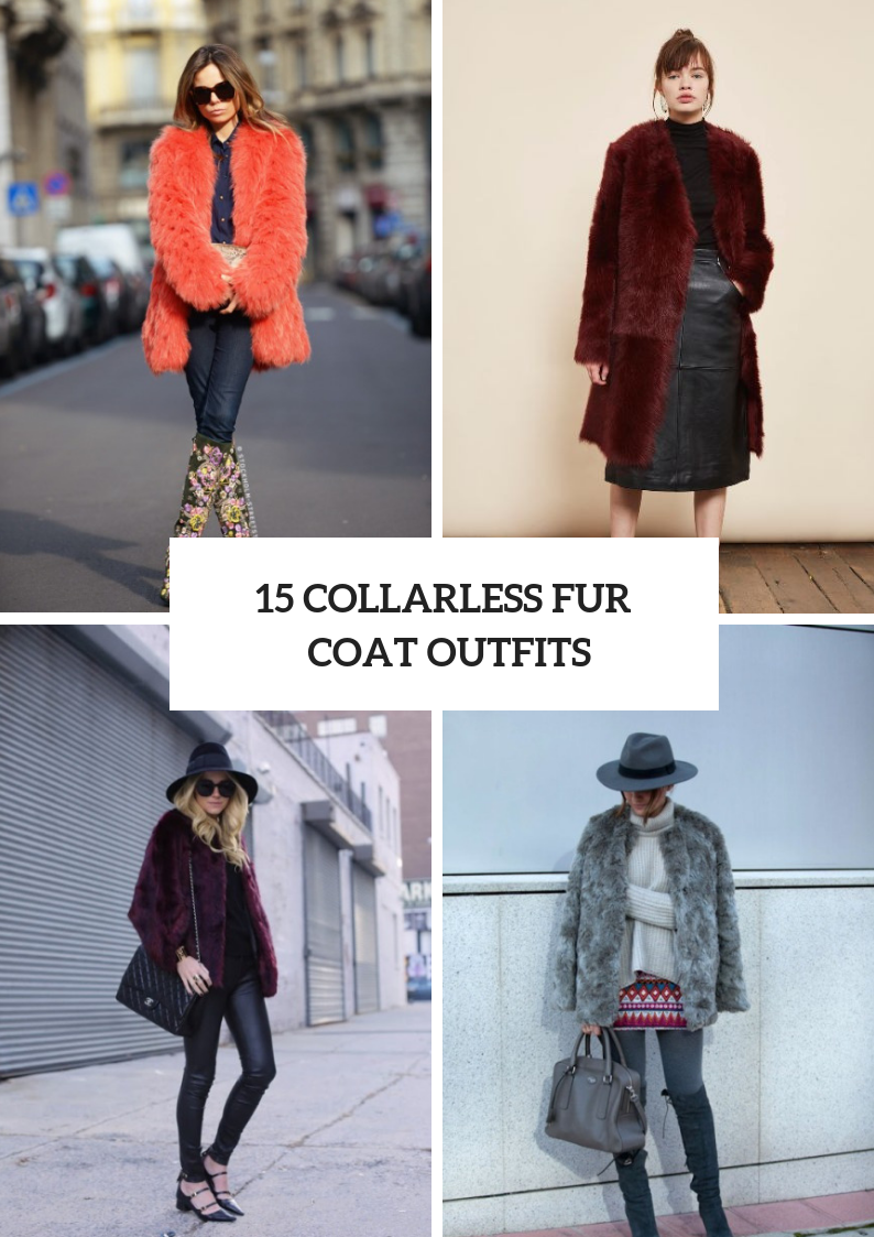 Winter Outfits With Collarless Fur Coats